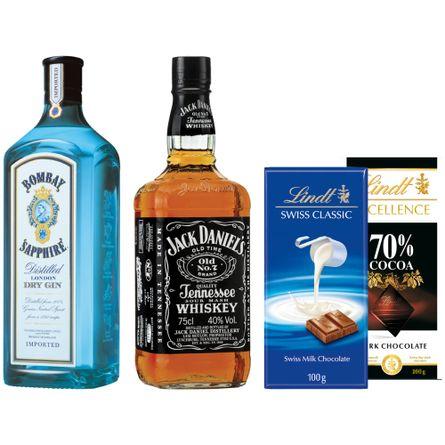 Pack-Fin-de-Semana--Disfrutalo-Whisky-Jack-Daniel-s---Gin-Bombay---2-Chocolates-Lindt-Producto